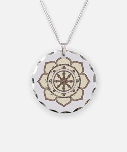 Dharma Wheel with Lotus Flowe Necklace