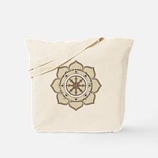 Dharma Wheel with Lotus Flowe Tote Bag
