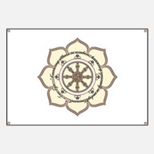 Dharma Wheel with Lotus Flowe Banner