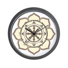Dharma Wheel with Lotus Flowe Wall Clock