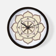 Dharma Wheel with Lotus Flowe Wall Clock