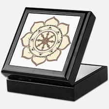 Dharma Wheel with Lotus Flowe Keepsake Box