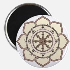 Dharma Wheel with Lotus Flowe Magnet