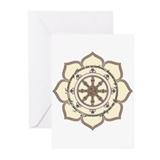 Dharma Wheel with Lotus Flowe Greeting Cards (Pk o