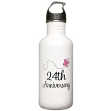 24th Anniversary Gift Butterfly Water Bottle