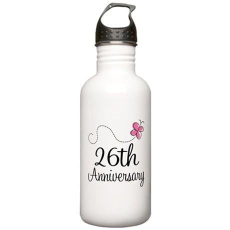 26th Anniversary Gift Butterfly Stainless Water Bo