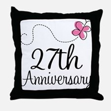 27th Anniversary Gift Butterfly Throw Pillow