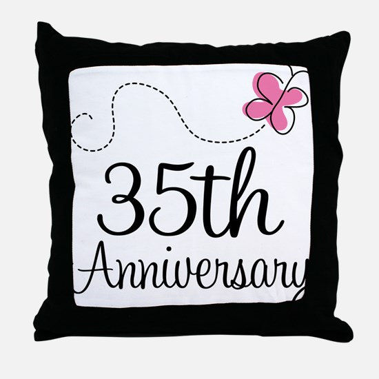 35th Anniversary Gift Butterfly Throw Pillow