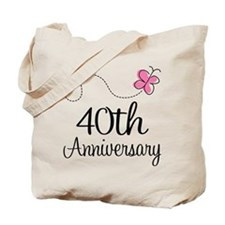 40th Anniversary Gift Butterfly Tote Bag