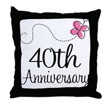 40th Anniversary Gift Butterfly Throw Pillow