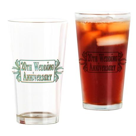20th Wedding Anniversary Drinking Glass