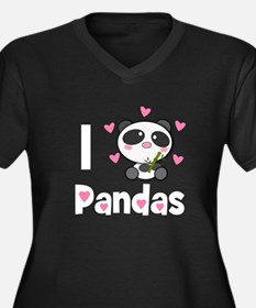 Panda Love Women's Plus Size V-Neck Dark T-Shirt