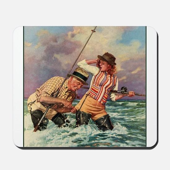 Fisherman Catches Pretty Girl Mousepad