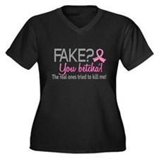 Yes They're Fake Breast Cancer Women's Plus Size V