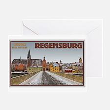 Regensburg Bridge Winter Greeting Card