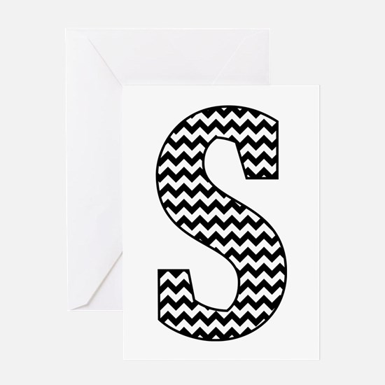 Black and White Chevron Letter S Monogram Greeting