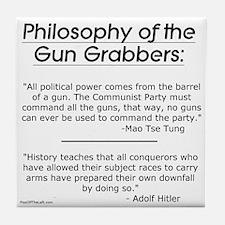 Philosophy of the Gun Grabbers Tile Coaster