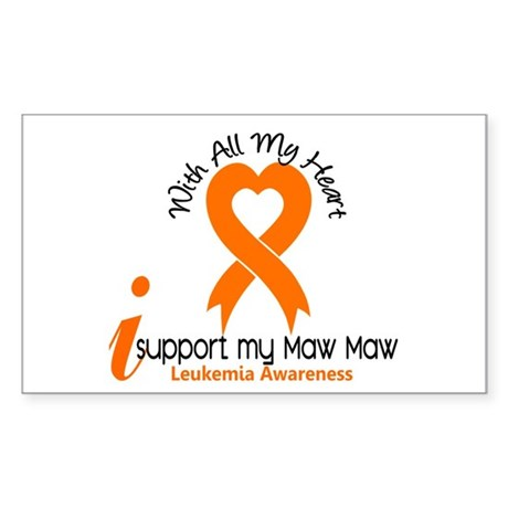 With All My Heart Leukemia Sticker (Rectangle)