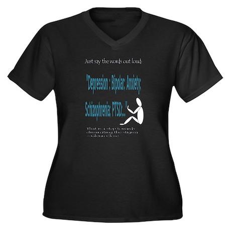 Quotes Women's Plus Size V-Neck Dark T-Shirt
