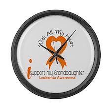 With All My Heart Leukemia Large Wall Clock