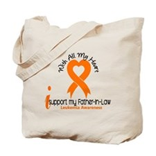 With All My Heart Leukemia Tote Bag