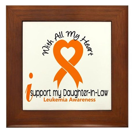 With All My Heart Leukemia Framed Tile