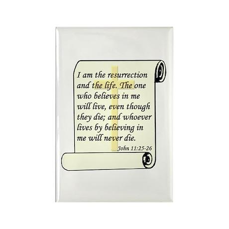 John 11:25-26 Rectangle Magnet (100 pack)