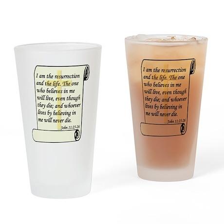 John 11:25-26 Drinking Glass
