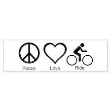 peace_love_ride_black_10_5x6_300dpi Bumper Car Sticker