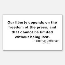 Jefferson: Freedom of the press Sticker (Rectangul