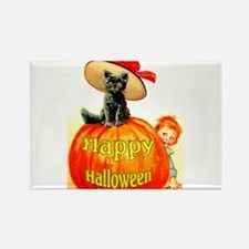 Halloween Cat With Hat Rectangle Magnet