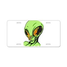Alien and Butterfly Aluminum License Plate