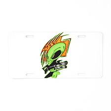 Alien And Laser Gun Aluminum License Plate
