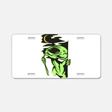 Alien and the Moon Aluminum License Plate