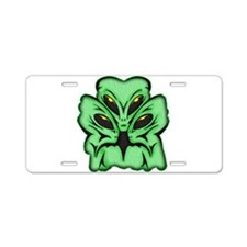 Three Alien Invaders Aluminum License Plate
