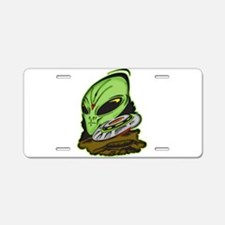 Alien and Flying Saucer UFO Aluminum License Plate