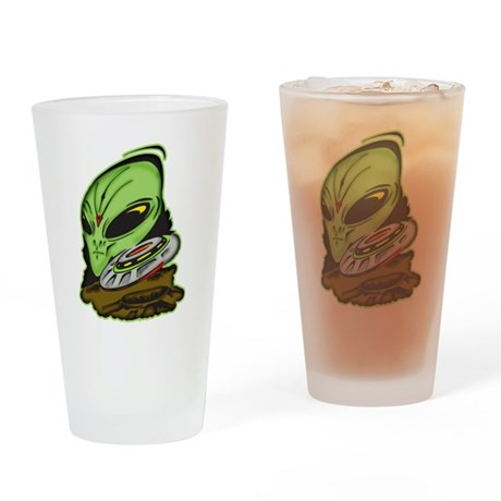 Alien and Flying Saucer UFO Drinking Glass