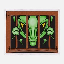 Alien Behind Bars Throw Blanket