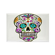 Tattoo Decorated Skull Rectangle Magnet