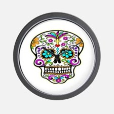 Day Of The Dead Skull 3 Wall Clock