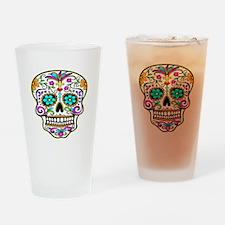 Tattoo Decorated Skull Drinking Glass