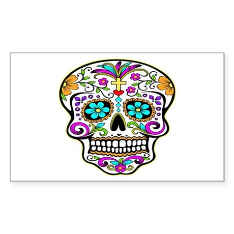 Tattoo Decorated Skull Sticker (Rectangle)