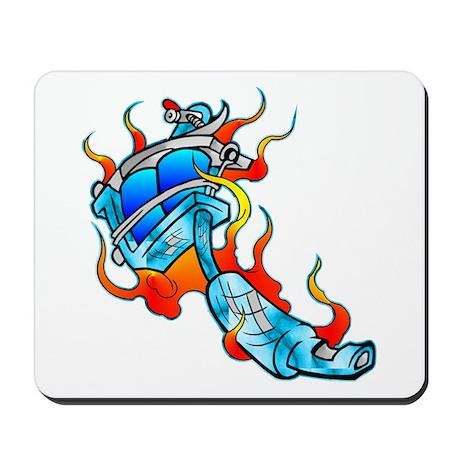 Flaming Tattoo Machine Mousepad