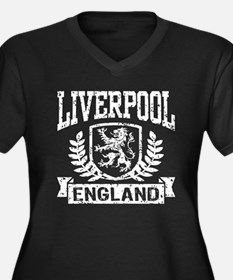 Liverpool England Women's Plus Size V-Neck Dark T-
