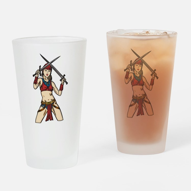 Brave Amazon Women Drinking Glass