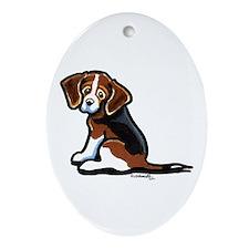 Cute Tri-color Beagle Ornament (Oval)