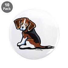 "Cute Tri-color Beagle 3.5"" Button (10 pack)"