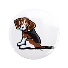 """Cute Tri-color Beagle 3.5"""" Button"""