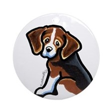 Cute Tri-color Beagle Ornament (Round)