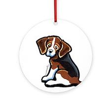 Cute Tri-color Beagle Ornament (Round)